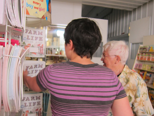 Janel and Mama spend time studying the unusual coloring and reading books for Amish children.