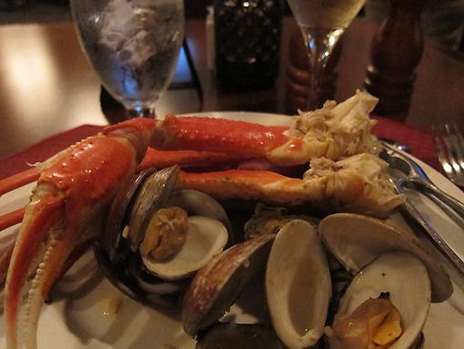 Crab legs and Clams Casino