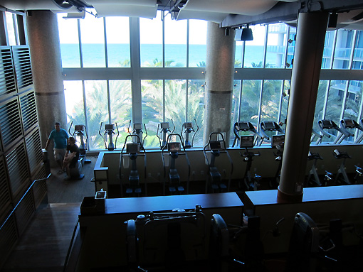 A portion of the weight room overlooking the ocean