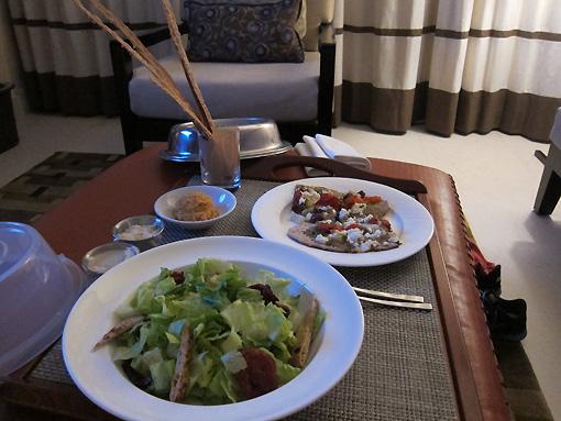 Caesar salad and Mediterranean flatbread
