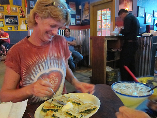 Bets enjoys a Spinach Quesadilla