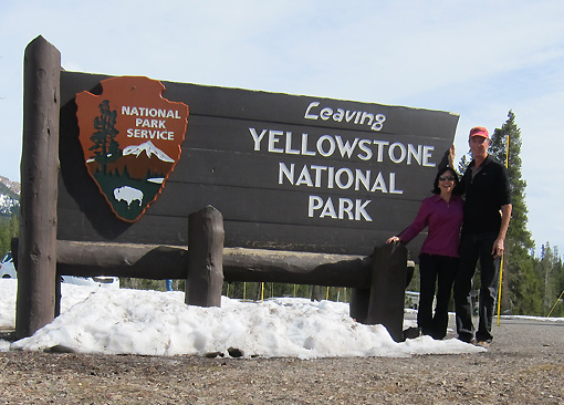 We took the picture on the wrong side of this sign!  We were ENTERING Yellowstone.
