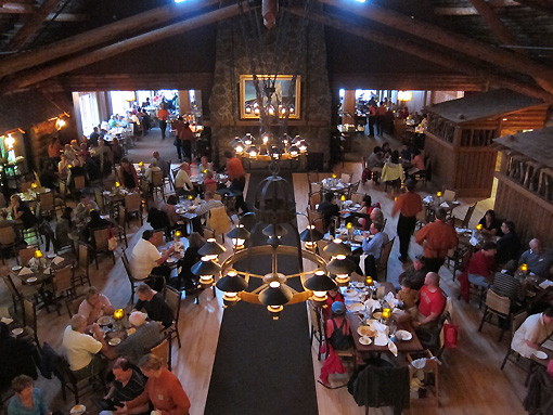 Overlooking the huge dining room