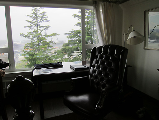 Great desk with leather chair and a killer view