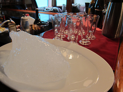 A piece of our glacier rests on the bar!