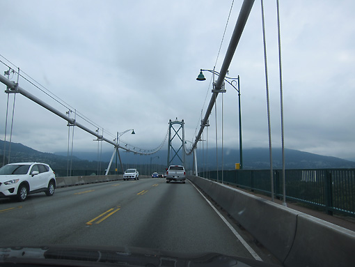 Driving over the same bridge that we biked under yesterday