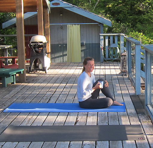 Michelle is waiting for us on the deck.