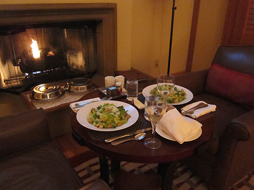 Dinner by the fireplace