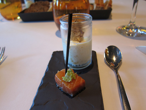 Tuna amuse bouche with cream of cauliflower