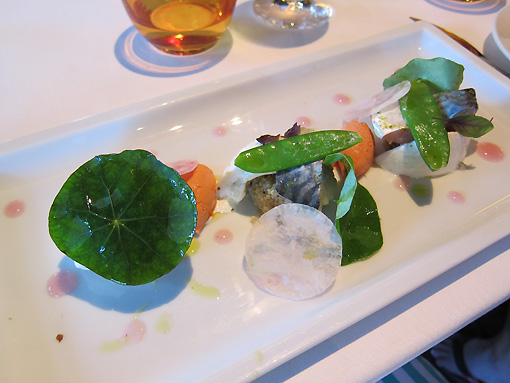 Janel's starter was the winner with the marinated mackerel and burrata