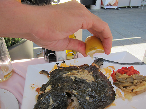 The underside of the fish looks burned, but it is delicious!