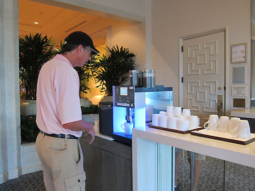 Rich tries to match wits with the complicated coffee machine