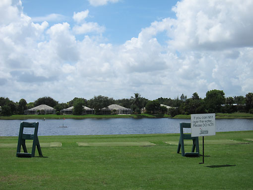 Balls are hit into the water from the driving range!