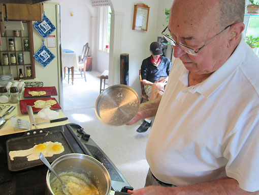 Dad is cooking grits this morning.