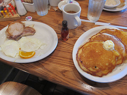 My pork chop and pancake feast.