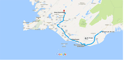 Hotel Laki, Efri-Vik, Meðallandsvegur to Mengi Kjarnholt - Google Maps