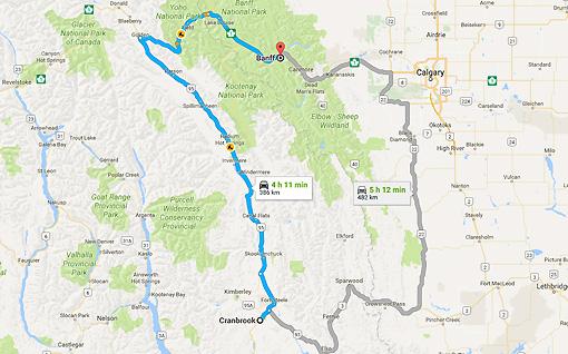Cranbrook, BC to Banff, AB - Google Maps-1