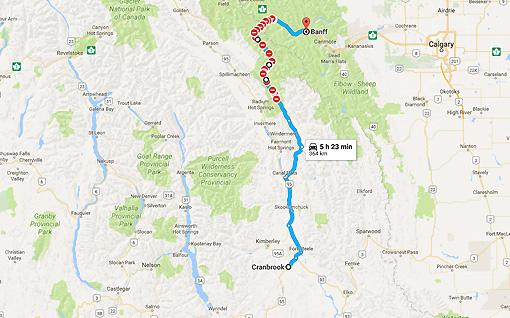Cranbrook, BC to Banff, AB - Google Maps closed road-1