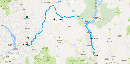 Oliver, BC to Hope, BC - Google Maps-1