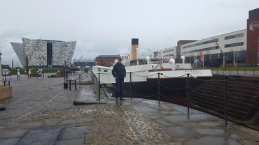 The silver building in the background is the Titanic Museum